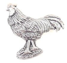Cockerel Finely Handcrafted in Solid Pewter in Uk Lapel Pin Badge