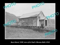 OLD LARGE HISTORICAL PHOTO OF KURRI KURRI NSW, VIEW OF St PAUL MISSION HALL 1910
