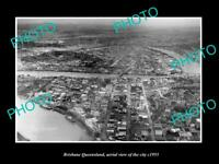 OLD POSTCARD SIZE PHOTO OF BRISBANE QUEENSLAND AERIAL VIEW OF THE CITY c1955