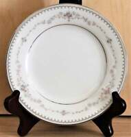 "Noritake Fairmont Platinum Trim 6102 Set of 4 Bread Plates 6 3/8"" Pink Roses"