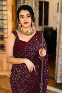 Ethnic Maroon Shimmer Fancy Saree Women Designer Sequin Sari Party Wear Blouse