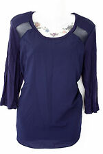 MORGAN goth dark blue mesh insert top with textured shoulders and 3/4 sleeves XL