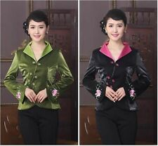 New green/blackChinese Women's embroidery silk/satin evening Jacket/Coat 8-.18
