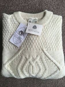 Traditional 100% Wool Aran Crew Neck Cream Jumper Cable Knit Made in England