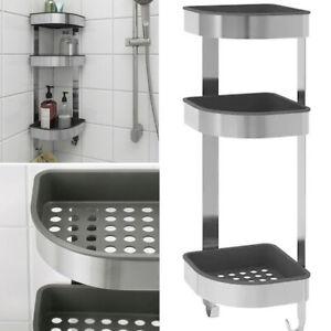 Ikea BROGRUND Wall Corner Shelf Unit Shower Caddy Storage Stainless Steel 3 Tier
