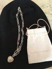 "David Yurman Heart Pendant Figaro Chain Neclace 18k Gold Toggle 16"" Sterling"