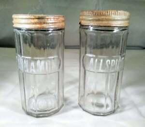 2 Vintage Hoosier Cabinet Spice Jars Ribbed Glass Aluminum Lids 2.25x5