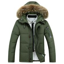 Men Casual Winter Duck Down Jacket Faux Fur Hooded Coat Puffer Parka Thick Warm