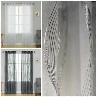 """GEOMETRIC GLITTER WAVES THICK VOILE EYELET 90"""" DROP CURTAIN PANEL £13.99 EACH"""