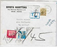 47460 ITALIA REPUBBLICA Storia Postale: SIRCUSANA su  BUSTA a SVIZZERA - TASSATA