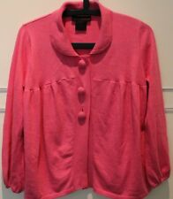 Pink Cardigan Pan Collar Bracelet Sleeve Large Buttons Yoke Cotton blend Urban M