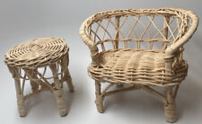 "Vintage Wicker Doll Furniture Set ~ Table & Chairs ~ Fits Dolls Sized 8""-12"""