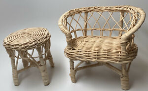 """Vintage Wicker Doll Furniture Set ~ Table & Chairs ~ Fits Dolls Sized 8""""-12"""""""