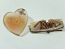 Vintage Plastic Brooches or Pins Mother , Dear Lot of Two World War II era