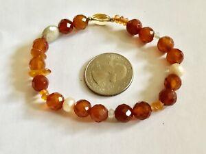 Vintage Mid Century Mod Natural Pearl Citrine Art Glass Beads Stretch Bracelet