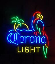 "New Corona Light Parrot With Palm Tree Neon Light Sign 24""x20"" Man Cave Beer Bar"