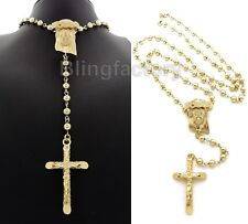 "Hip Hop Gold plated Jesus & Cross Pendant w/ 6mm 30"" CCB Bead Rosary Necklace"