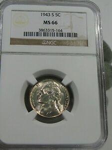 BU GEM 1943-s Silver WWII Jefferson Nickel NGC MS66.  #63