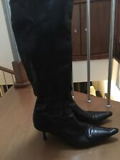 Black Knee High Pointed Boots, Size 7/40