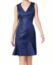 b Michael jacquard  navy blue A-line dress NWT 8  Red Collection Macy's $315