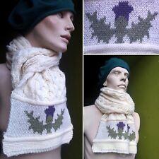 Vintage Men's Women's 100% Wool Cable Knit Scotland Thistle Aaron Scarf