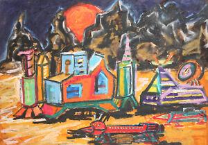 Vintage pastel painting surrealist landscape