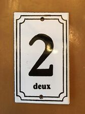 Small French White Enamel Plaques Signs ~ 2 Deux New