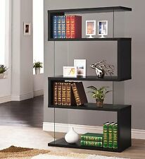 4 Shelf Bookcase Black Bookshelf w/ Book Storage Shelves w Glass Panels Modern