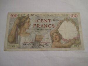 billet 100 francs SULLY KM. 12-10-1939. KM. Y. 2820 963