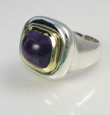 Tiffany & Co Rare PALOMA PICASSO HUGE Sterling Silver & 18k Gold Amethyst Ring