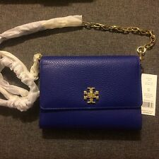 New TORY BURCH Leather Mercer Chain WALLET CROSSBODY Macaw Blue $285