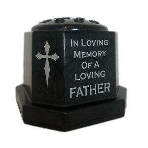 Personalised Memorial Cross Flower Vase, Black & Silver Grave Pot ANY Name/Text