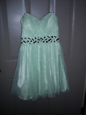 BEAUTIFUL MINTGREEN SPARKLE RHINESTONE TRENDY Homecoming  Dance Dress JRS 9/10