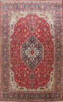 Vintage Geometric Tebriz Hand-knotted RED Area Rug Home Decor Oriental Wool 8x11