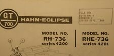 HAHN-ECLIPSE 1969 GT/700 Lawn Garden Riding Mower Tractor Parts Manual 12pg