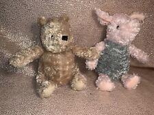 "Classic Winnie the Pooh And Piglet Stuffed Plush 9"" Nursery Decor Disney"