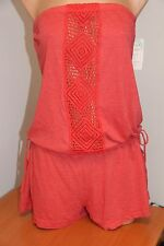 NWT Lucky Brand Swimsuit Bikini Cover Up Romper Size M L Strapless CRL