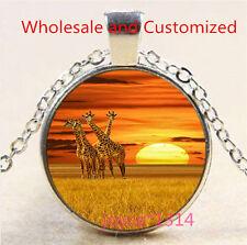 Vintage Giraffe Cabochon Tibetan silver Glass Chain Pendant Necklace #3489