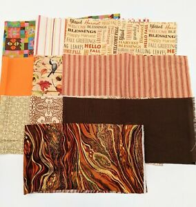 """Lot of Cotton Fabric 20"""" for Quilting Junk Journals Collage Fall Autumn Prints"""
