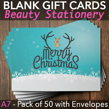 Christmas Gift Vouchers Blank Beauty Salon Card Nail Massage x50 A7+Envelope RU
