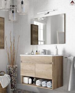 Mobile da bagno sospeso 80cm rovere set sotto lavabo con specchio ante in legno