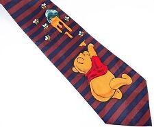 Winnie the Pooh Tie Honey Pot Brown Blue Stripes Disney Cartoon Necktie
