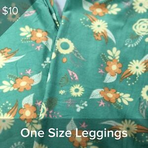 LuLaRoe OS One Size Leggings LLR -BNWOT Green, Yellow, Orange, Pink Floral,