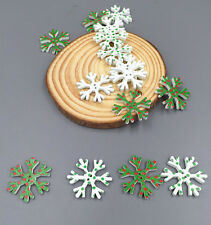 50pcs Wooden Christmas Snowflake Buttons Sewing scrapbooking Decorative 26mm