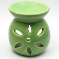 Small Green Flower Wax Warmer/Burner & pack of 10 Handpoured Scented Melts