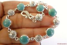Round Turquoise 925 Sterling Silver Link Bracelet