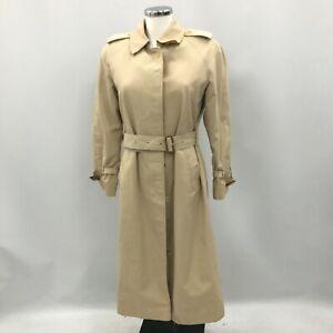 Vintage Burberry Long Trench Coat UK 8 Reg Beige Camel Belted Iconic 420894