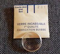 Verre de montre suisse armé bagué plexi diamètre 281 Watch crystal vintage NOS
