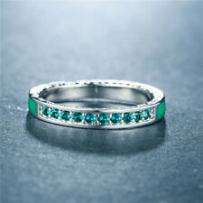 Women's Creative 925 Silver Rings Round Cut Emerald Wedding Rings Jewelry Size 8
