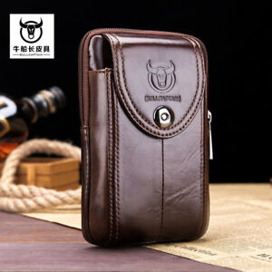 Men Genuine Leather Fanny Waist Bag Cell/Mobile Phone Purse Pocket Belt Bum Pack